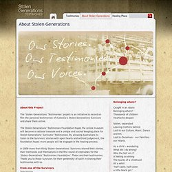 The Stolen Generations' Testimonies - About Stolen Generations