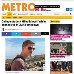 Student Ben Stollery killed himself due to MDMA comedown and depression