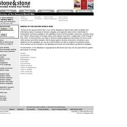 Stone & Stone Second World War Books: Armies of the Second World War