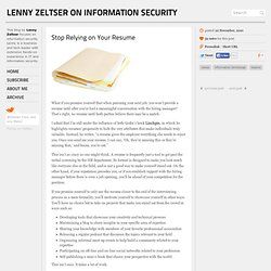 Lenny Zeltser on Information Security — Stop Relying on Your Resume