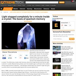 Light stopped completely for a minute inside a crystal: The basis of quantum memory