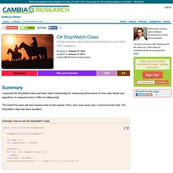 C# StopWatch Class