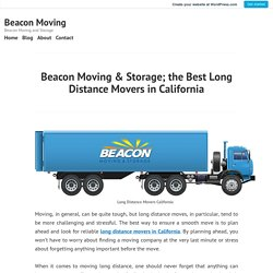 Long Distance Movers California
