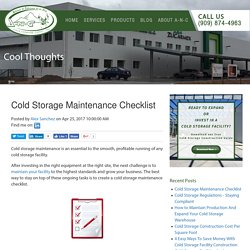 Cold Storage Maintenance Checklist