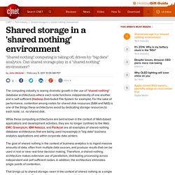 Shared storage in a 'shared nothing' environment | Data-driven