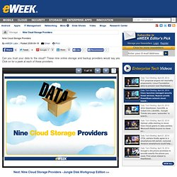 Nine Cloud Storage Providers - Data Storage