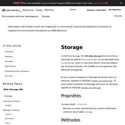 Storage - Référence Web API