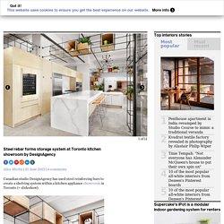 Steel rebar forms storage system at Toronto kitchen showroom