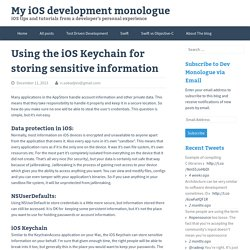 Storing information in the iOS Keychain