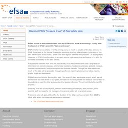 "EFSA 02/03/15 Public access to data collected and held by EFSA for its work is becoming a reality with the launch of EFSA's scientific ""data warehouse""."