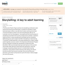 Storytelling: A key to adult learning