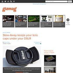 Stow-Away keeps your lens caps under your DSLR