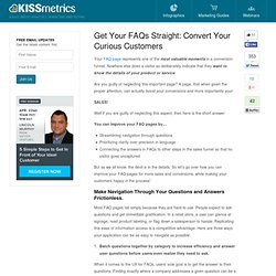 Get Your FAQs Straight: Convert Your Curious Customers