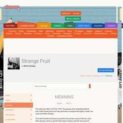 Strange Fruit Meaning