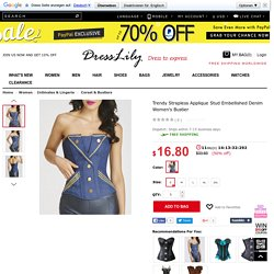 Trendy Strapless Applique Stud Embellished Denim Women's Bustier, BLUE, S in Corset & Bustiers
