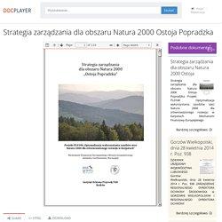 Strategia zarządzania dla obszaru Natura 2000 Ostoja Popradzka - PDF Free Download