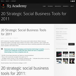 20 Strategic Social Business Tools for 2011