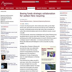 Boeing funds strategic collaboration for carbon fibre recycling - myScience / science wire
