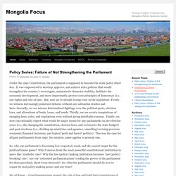 Strategic Analysis: Contemporary Mongolian Politics, Resources, Society