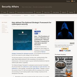 Italy defined The National Strategic Framework for cyberspace security