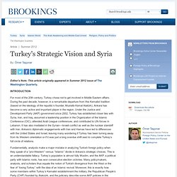 Turkey's Strategic Vision and Syria