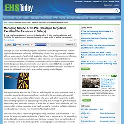 Managing Safety: S.T.E.P.S. (Strategic Targets for Excellent Performance in Safety)