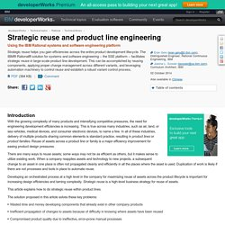 Strategic reuse and product line engineering
