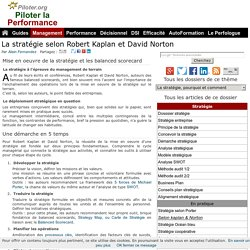 Stratégie et balanced scorecard de Robert Kaplan, David Norton