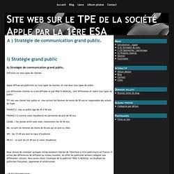 A ) Stratégie de communication grand public. - Site web sur le TPE de la société Apple par la 1ère ESA