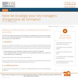 Note de stratégie pour les managers d'organisme de formation