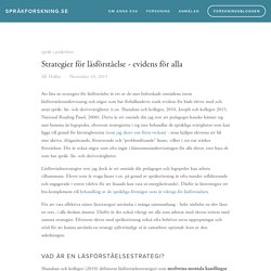 Strategier för läsförståelse - evidens för alla