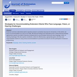 Strategies for Accommodating Extension Clients Who Face Language, Vision, or Hearing Challenges