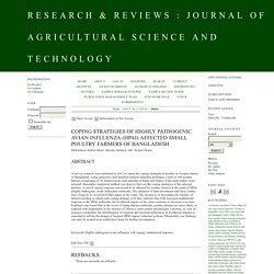 JOURNAL OF AGRICULTURAL SCIENCE AND TECHNOLOGY - 2014 - Coping Strategies of Highly Pathogenic Avian Influenza (HPAI) Affected Small Poultry Farmers of Bangladesh