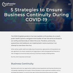 5 Strategies to Ensure Business Continuity During COVID-19