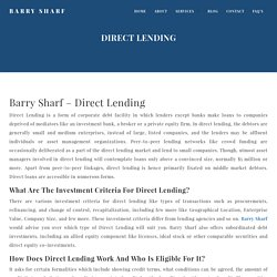 Barry Sharf Direct Lending Strategies For Small & Medium Business Investment