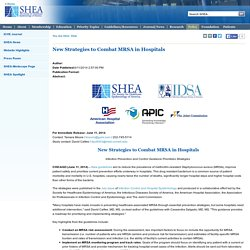 New Strategies to Combat MRSA in Hospitals