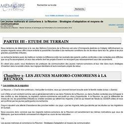 Les jeunes mahorais et comoriens à la Réunion : Stratégies d'adaptation et moyens de communication - Jean Kraemer