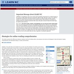 Strategies for online reading comprehension