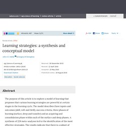 Learning strategies: a synthesis and conceptual model : npj Science of Learning