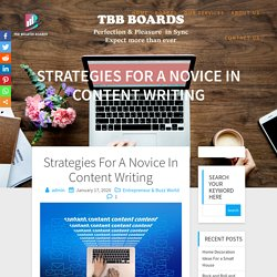 Strategies For A Novice In Content Writing