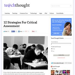 12 Strategies For Critical Assessment