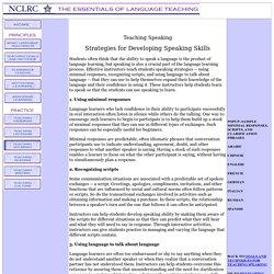 Strategies for Developing Speaking Skills