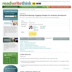 Solving Word Meanings: Engaging Strategies for Vocabulary Development