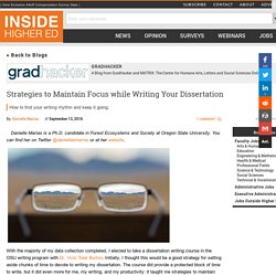 Strategies to Maintain Focus while Writing Your Dissertation