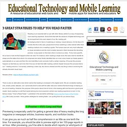 3 Great Strategies to Help you Read Faster ~ Educational Technology and Mobile Learning