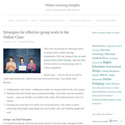 Strategies for effective group work in the Online Class