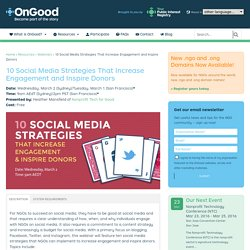10 Social Media Strategies That Increase Engagement and Inspire Donors - GlobalNGO.org