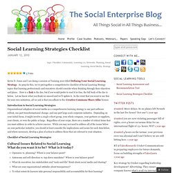 Social Learning Strategies Checklist « Social Enterprise Blog
