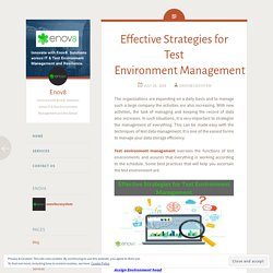Effective Strategies for Test Environment Management