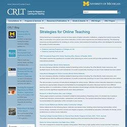 Strategies for Online Teaching